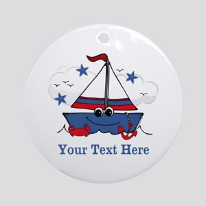 Cute Little Sailboat Personalized Ornament (Round)