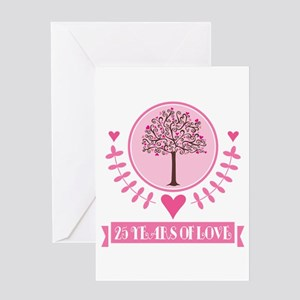 25th Anniversary Love Tree Greeting Card