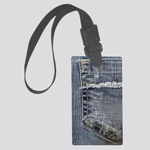 Tattered Jeans Pocket Large Luggage Tag