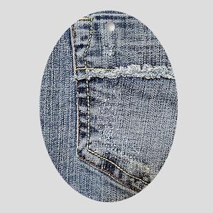 Tattered Jeans Pocket Oval Ornament