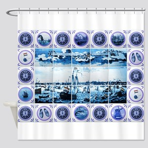 Vintage Old Dutch Delftware Style Shower Curtain