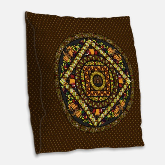 Thanksgiving Icons Burlap Throw Pillow