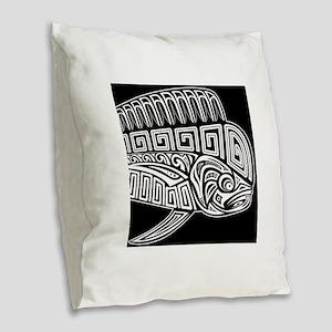 Polynesian Mahi Burlap Throw Pillow