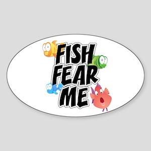 Fish Fear Me Sticker (Oval)