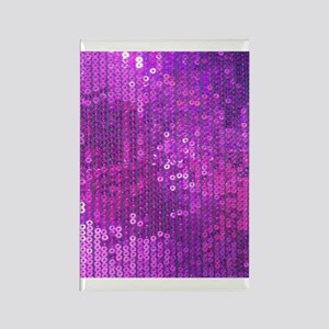 Purple Sequin Pattern Rectangle Magnet