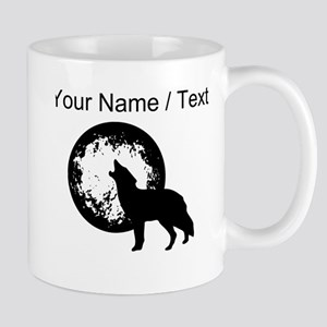 Custom Wolf Howling At Moon Mugs