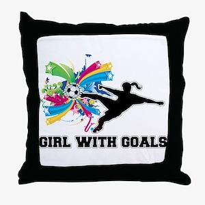 Girl with Goals Throw Pillow