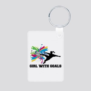 Girl with Goals Aluminum Photo Keychain