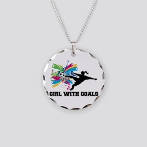 Girl with Goals Necklace Circle Charm