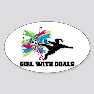 Girl with Goals Sticker (Oval)