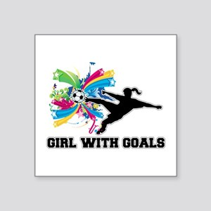 """Girl with Goals Square Sticker 3"""" x 3"""""""