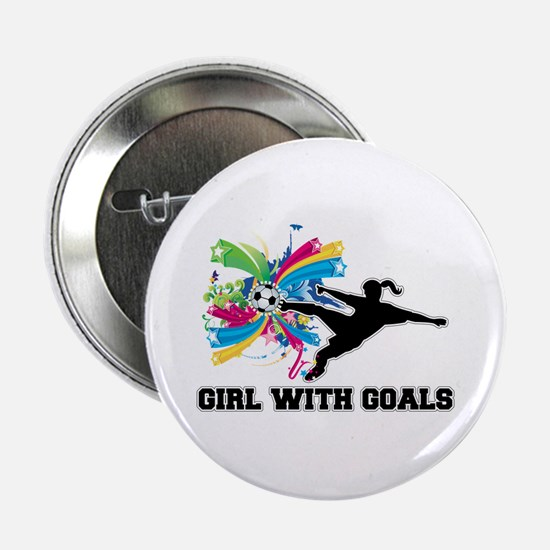 """Girl with Goals 2.25"""" Button"""