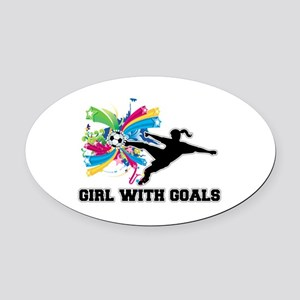 Girl with Goals Oval Car Magnet