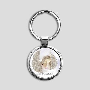 Angel Protect Me Round Keychain