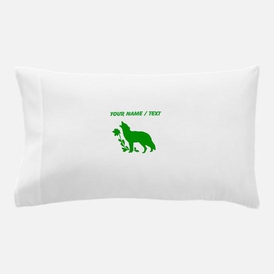 Custom Green Howling Wolf Silhouette Pillow Case