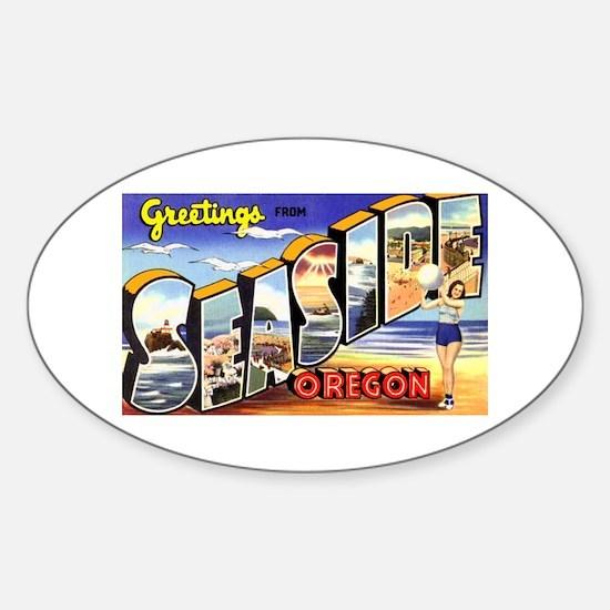 Seaside Oregon Greetings Oval Decal