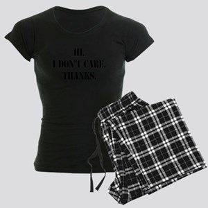 idontcarestencilblk Women's Dark Pajamas