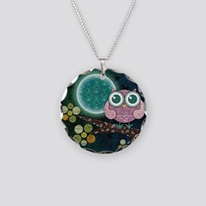 Midnight Owl Necklace Circle Charm
