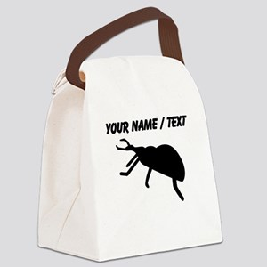 Custom Black Beetle Silhouette Canvas Lunch Bag