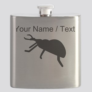 Custom Black Beetle Silhouette Flask