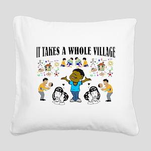 Black Community message Square Canvas Pillow