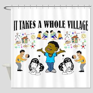 Black Community message Shower Curtain