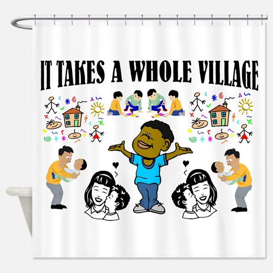 Black Community message Shower Curtain