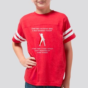 trucker superheroineBW copy Youth Football Shirt