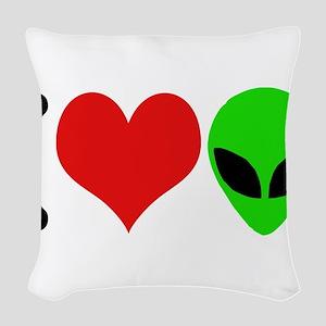 ilovealiensblk Woven Throw Pillow