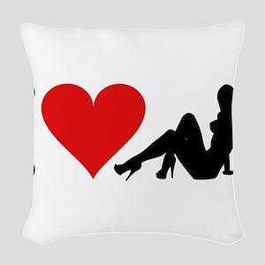 3-ilovestrippersblk Woven Throw Pillow