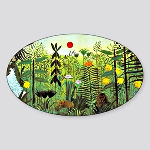 Exotic Landscape with Lion and Lion Sticker (Oval)