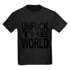 unfucktheworldblk Kids Dark T-Shirt
