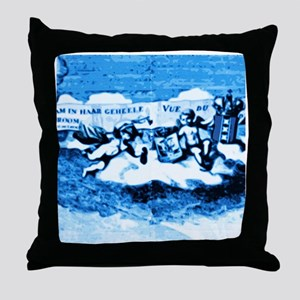 Vintage Amsterdam Tile Mural A3 Throw Pillow