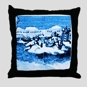 Vintage Amsterdam Tile Mural A3 Throw Pillow