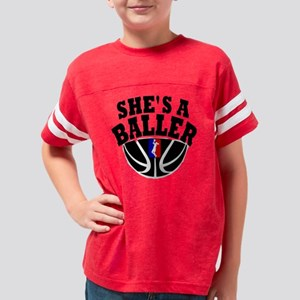 Shes A Baller Youth Football Shirt