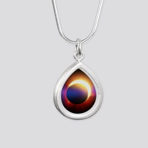 Solar Eclipse Silver Teardrop Necklace