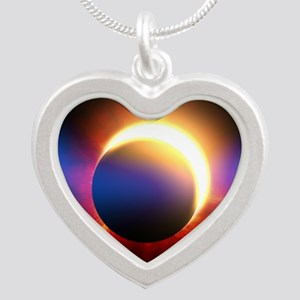 Solar Eclipse Silver Heart Necklace