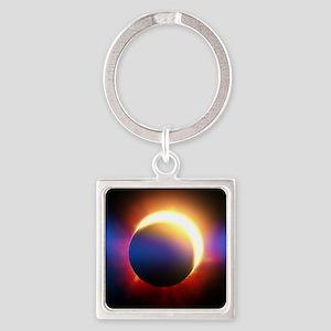 Solar Eclipse Square Keychain
