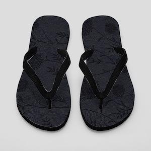 Black Leather And Flower Effect Flip Flops