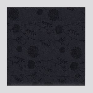 Black Leather And Flower Effect Tile Coaster