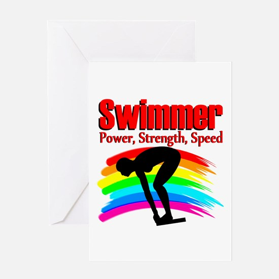 #1 SWIMMER Greeting Card