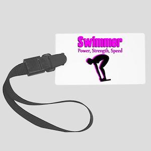 SWIMMING CHAMP Large Luggage Tag