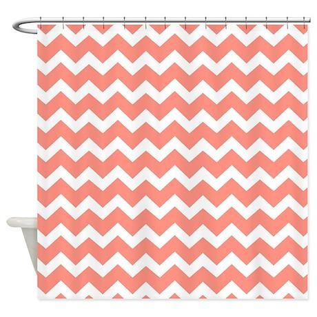 Coral White Chevron Pattern Shower Curtain