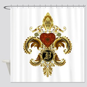 Monogram B Fleur de lis 2 Shower Curtain