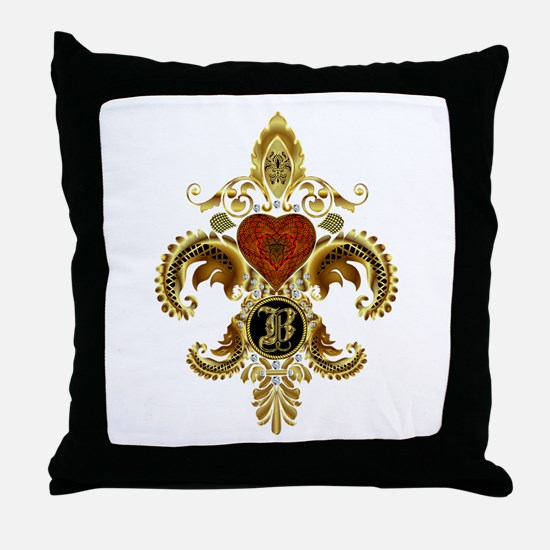 Monogram B Fleur de lis 2 Throw Pillow