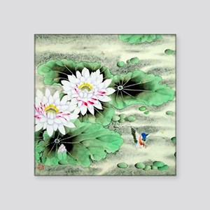 "Vintage Floral Motif -Chine Square Sticker 3"" x 3"""