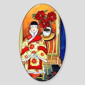 Vintage Painting -Oriental Art Sticker (Oval)