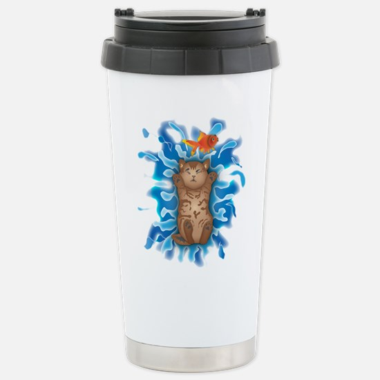 Water Splash Cat Goldfish Travel Mug