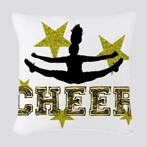 Cheerleader Gold and Black Woven Throw Pillow