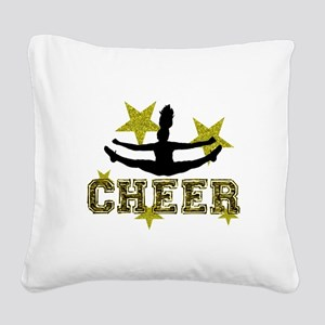 Cheerleader Gold and Black Square Canvas Pillow